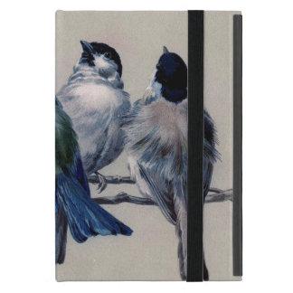 Pájaros mullidos del vintage en ramas iPad mini carcasa