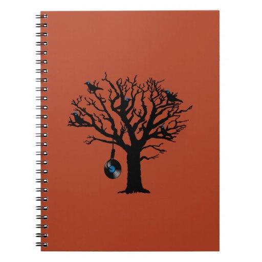 Pájaros musicales en verdugo rojo del vinilo del á cuaderno