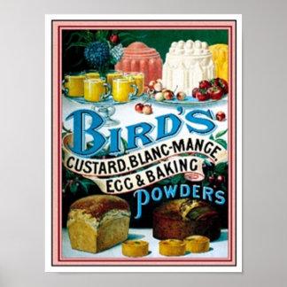 Pájaros natillas del vintage, huevo del manjar bla posters