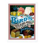 Pájaros natillas del vintage, huevo del manjar bla tarjeta postal