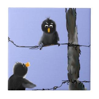 Pájaros negros azulejo cuadrado pequeño