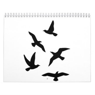 Pájaros negros calendario de pared