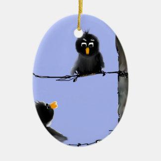 Pájaros negros adorno ovalado de cerámica