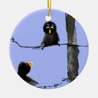 Pájaros negros adorno redondo de cerámica