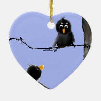 Pájaros negros adorno de cerámica en forma de corazón