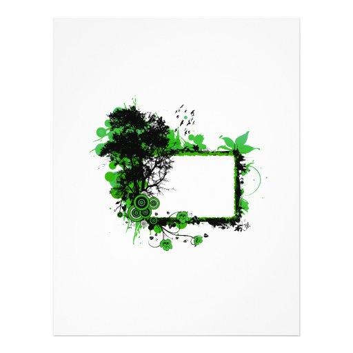 Pájaros negros del verde n w del marco del roble tarjetones