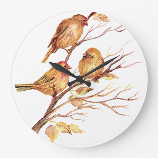 Pájaros originales de la acuarela en árbol reloj redondo grande
