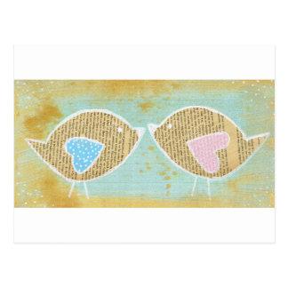 Pájaros, pájaros del amor, 2 pequeños pájaros tarjeta postal