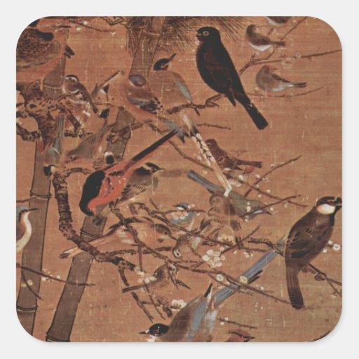 Pájaros Pegatina Cuadrada
