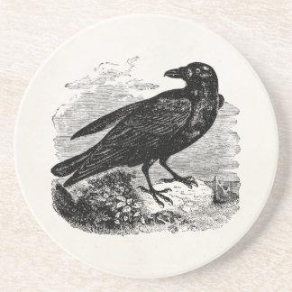 Pájaros personalizados cuervo del pájaro del negro posavasos para bebidas