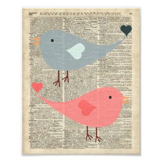 Pájaros preciosos del dibujo animado en la página fotografía