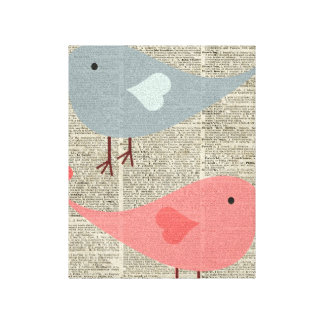 Pájaros preciosos del dibujo animado en la página impresión en lienzo estirada