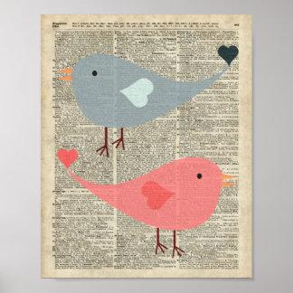 Pájaros preciosos del dibujo animado en la página póster