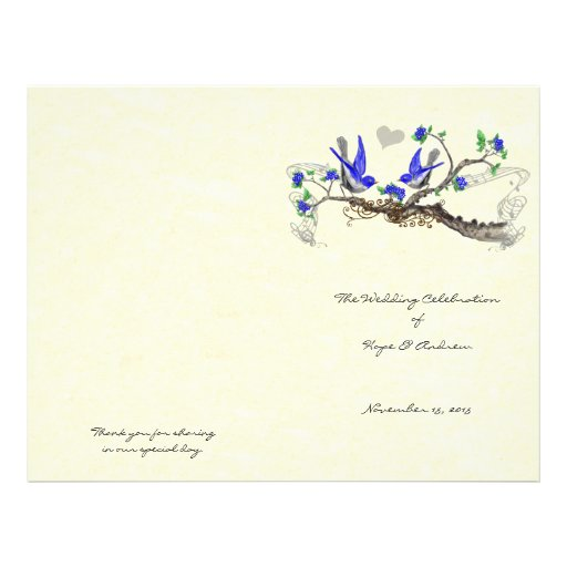 """Pájaros programa del boda del azul real del folleto 8.5"""" x 11"""""""