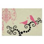 Pájaros, puntos, corazón, ramas, remolinos - rosa