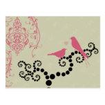 Pájaros, puntos, corazón, ramas, remolinos - rosa postal