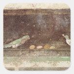 Pájaros que comen nueces pegatina cuadradas personalizadas