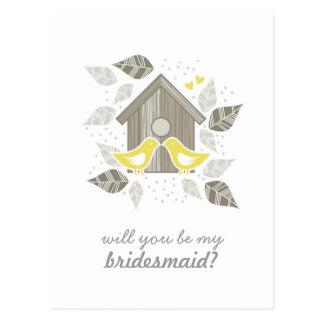 pájaros que se besan amarillos mi vertical de la tarjeta postal