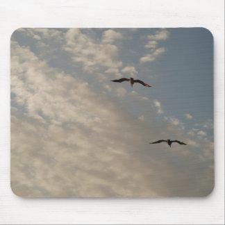 pájaros que vuelan arriba tapete de ratones