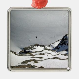 Pájaros que vuelan sobre la montaña nevosa ornamento para reyes magos