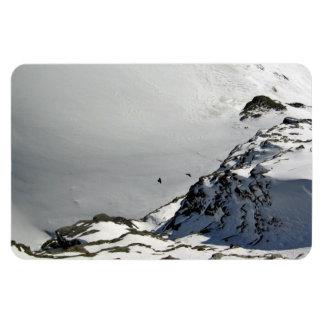 Pájaros que vuelan sobre la montaña nevosa imanes flexibles