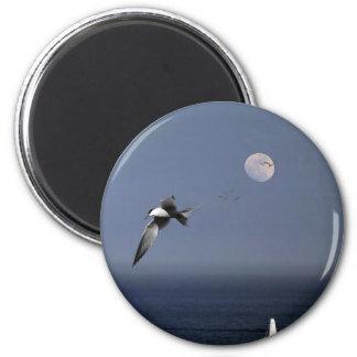 Pájaros que vuelan sobre los barcos en el mar imán redondo 5 cm