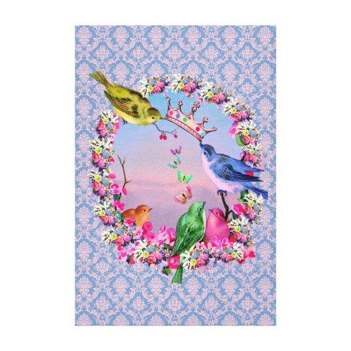 Pájaros reales en fondo del Barroco del vintage Lienzo Envuelto Para Galerías