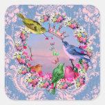 Pájaros reales por los estudios de Bella Bella Calcomanías Cuadradas