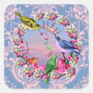 Pájaros reales por los estudios de Bella Bella Pegatina Cuadrada