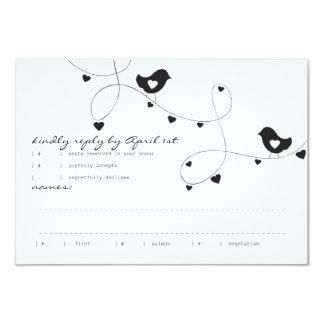 """Pájaros retros del amor con la tarjeta de la invitación 3.5"""" x 5"""""""
