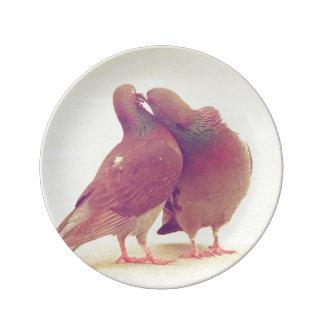 Pájaros retros del amor de la paloma que besan la platos de cerámica