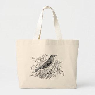 Pájaros retros personalizados pájaro del usignuolo bolsa tela grande