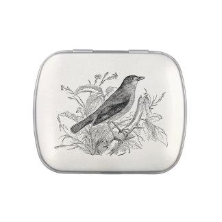 Pájaros retros personalizados pájaro del usignuolo frascos de dulces