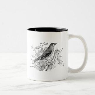 Pájaros retros personalizados pájaro del usignuolo taza de café de dos colores