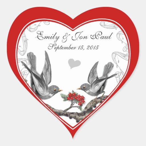 Pájaros rojos del vintage de la flor de cerezo que calcomania de corazon