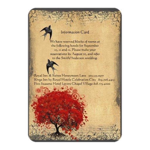 """Pájaros rojos del vintage del árbol de la hoja del invitación 3.5"""" x 5"""""""