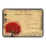 Pájaros rojos del vintage del árbol de la hoja del invitación 8,9 x 12,7 cm