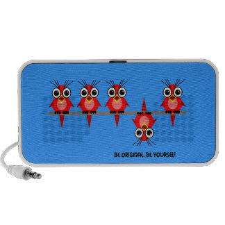 pájaros rojos lindos mini altavoz