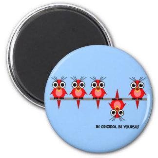 pájaros rojos lindos imán de frigorífico