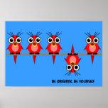 pájaros rojos lindos impresiones