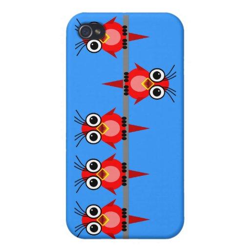 pájaros rojos lindos iPhone 4 funda
