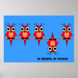 pájaros rojos lindos póster
