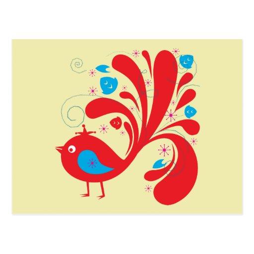Pájaros rojos y azules del ~ del pájaro tarjetas postales