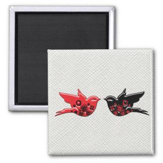Pájaros rojos y negros de la porcelana con salidas imán cuadrado