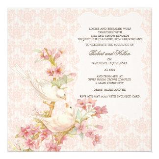 Pájaros románticos del vintage en el boda del amor