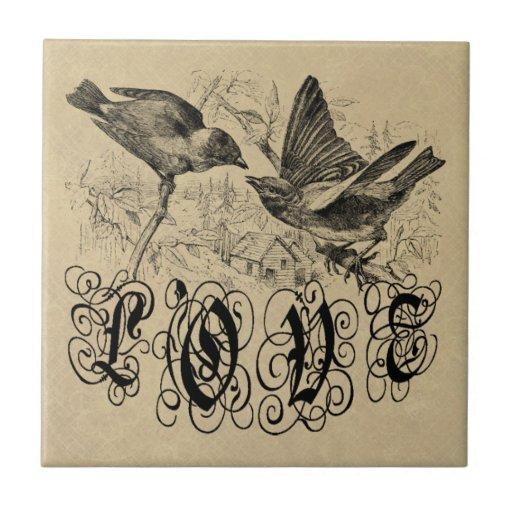 Pájaros ropa y regalos del amor del vintage azulejo cuadrado pequeño