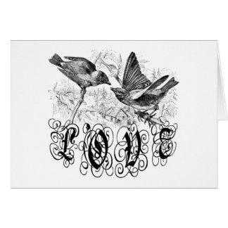 Pájaros ropa y regalos del amor del vintage tarjeton