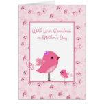 Pájaros rosados, abuela, tarjeta del día de madres