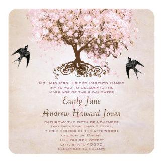 """Pájaros rosados brumosos del amor del árbol de la invitación 5.25"""" x 5.25"""""""