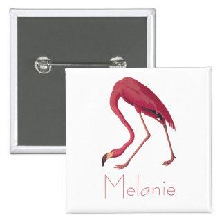 Pájaros rosados del vintage del flamenco de pin cuadrado